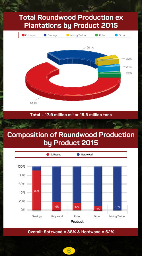 South African Forestry - Total Roundwood Production ex plantation by product 2015