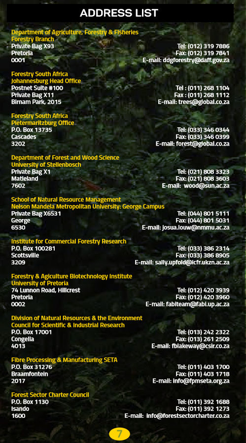 South African Forestry - Address list