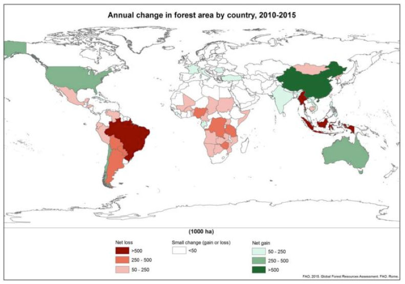 Annual change in forest area by country
