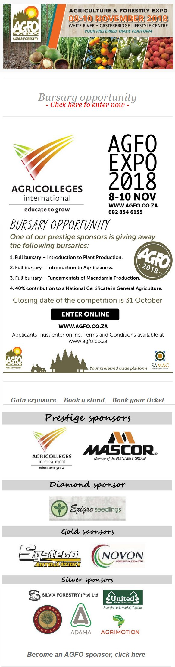 Agriculture & Forestry Expo Bursary Opportunity