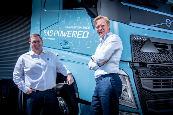 Left, Eric Parry, product manager at Volvo Trucks Southern Africa, with Marcus Hörberg, vice-president of Volvo Group Southern Africa