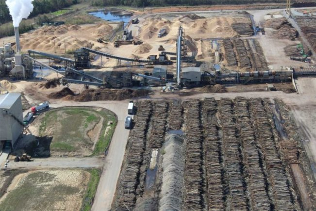A forest biomass production facility in the U.S. Southeast which makes wood pellets for export, to be burned in converted coal power plants. Image courtesy of the Dogwood Alliance.