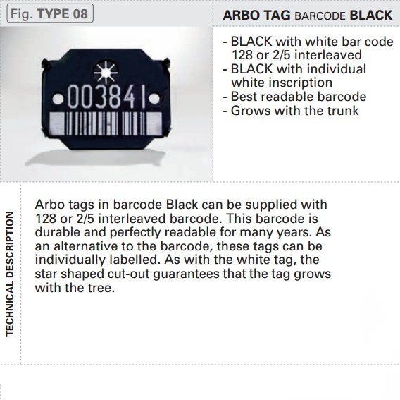 Arbo Tag - Barcode Black